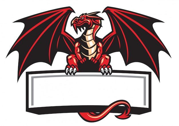 Dragon mascotte spreidde de vleugels