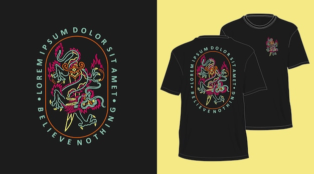 Dragon neon monoline hand getekend t-shirt design