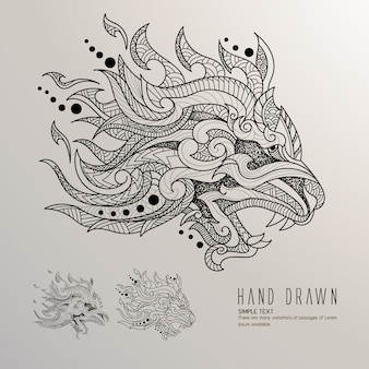 Dragon's head hand drawn