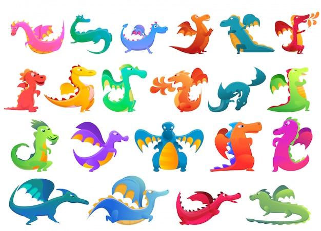 Dragon set, cartoon stijl