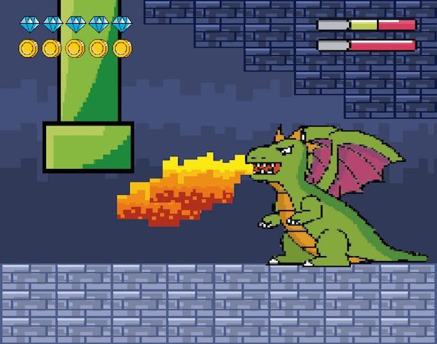 Dragon spuwt vuur met buis en levensbalkjes