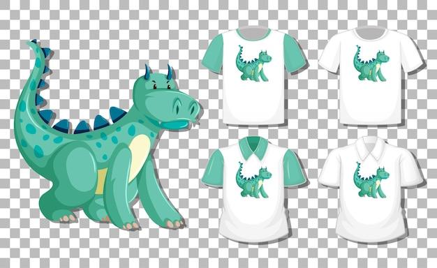 Dragon stripfiguur met set van verschillende shirts geïsoleerd
