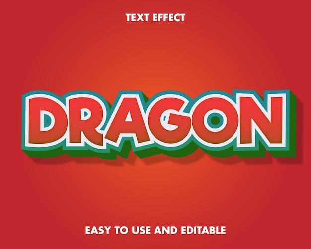 Dragon-teksteffect. bewerkbare tekenstijl.