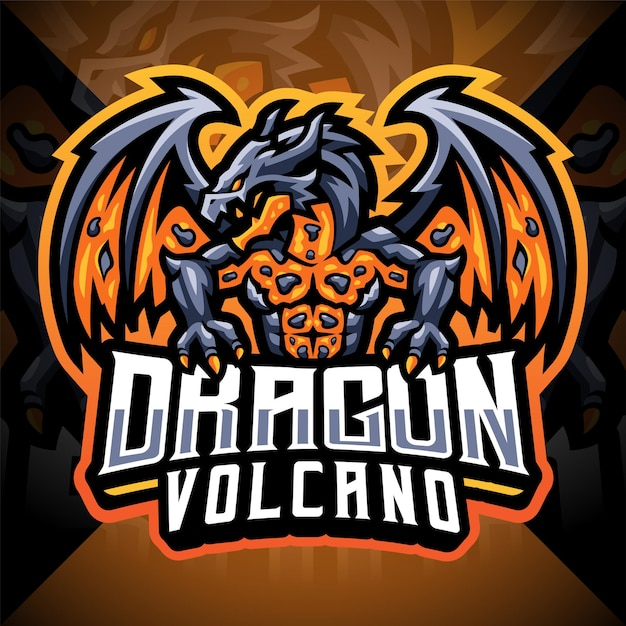 Dragon vulkaan esport mascotte logo