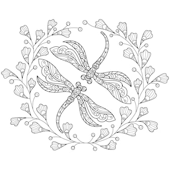 Dragonfly en bloemen hand getrokken schets illustratie voor volwassen kleurboek