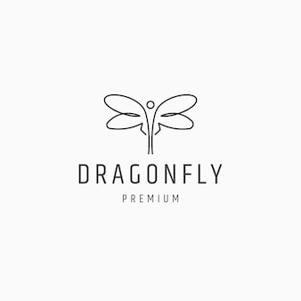 Dragonfly lijn kunst logo pictogram ontwerp sjabloon platte vectorillustratie