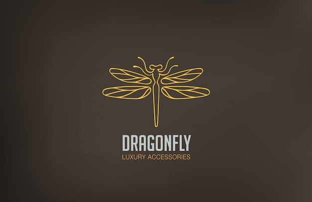 Dragonfly logo lineair stijlicoon.