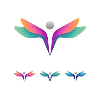 Dragonfly + mensen logo concept