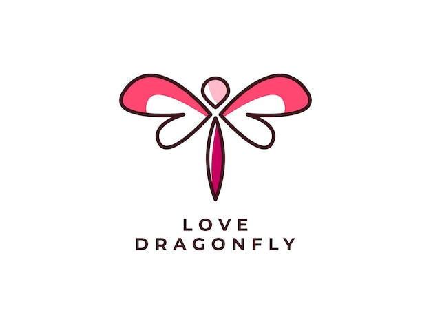 Dragonfly mono lijn logo ontwerpconcept
