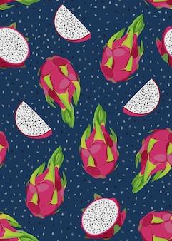 Dragonfruit en plak naadloos patroon met zaden. tropische exotische cactusvruchten