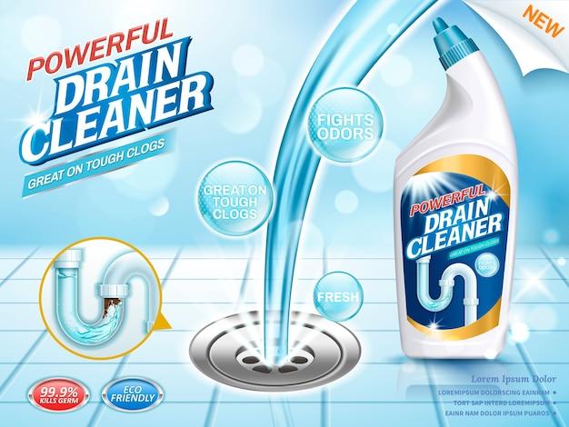 Drain cleaner advertenties illustratie