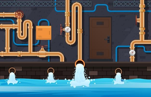 Drainage leidingen systeem. industrieel verwarmingssysteem, stedelijke gemeentelijke waterleidingen behandeling systeem service achtergrond afbeelding. afvoerleiding, industriële buistechniek in de kelder