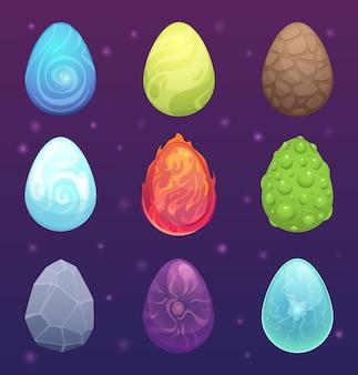 Draken eieren. magische fantasie gekleurde items voor games sprookjesachtige vector ronde eieren vurige draak, ovale vorm magische illustratie