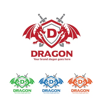 Draken schild met zwaarden logo