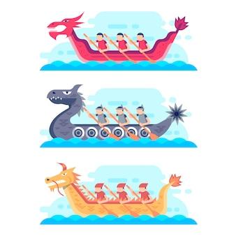 Drakenbootcollectie in vlakke stijl
