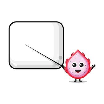 Drakenfruit wordt een schattige mascotte van een leraar