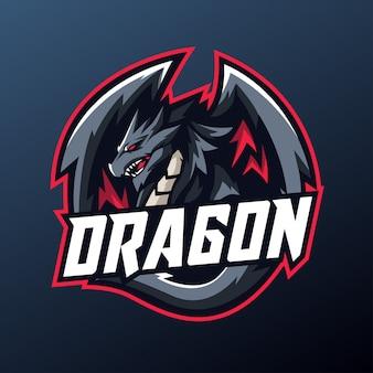 Drakenmascotte voor sport en esports-logo
