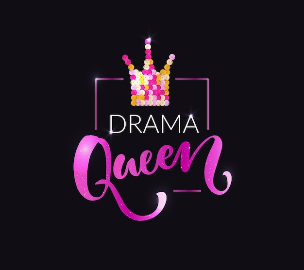 Drama koningin print voor mode kleding tshirts tops roze en gouden pailletten kroon glanzende typografie