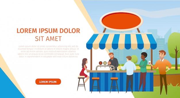 Dranken degustation in street cafe vector website