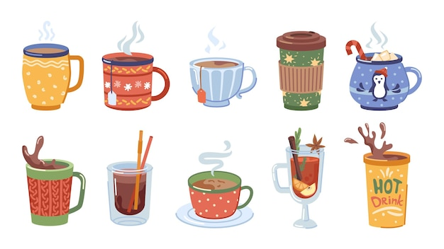 Dranken en warme dranken voor de winter kerst set kopjes met koffie thee en cacao met