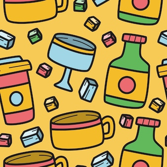Drankje cartoon doodle patroon
