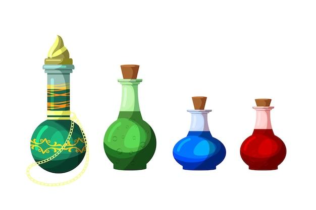 Drankje in glazen fles fles set geïsoleerd. magische tovenarij-elixervloeistof met verzameling vreemde inhoud