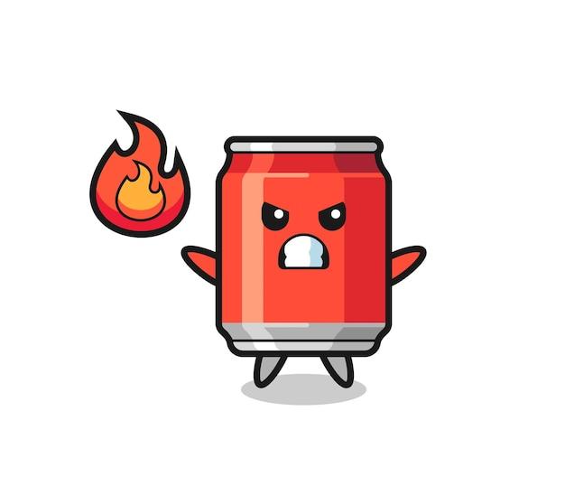 Drankje kan karakter cartoon met boos gebaar, schattig stijlontwerp voor t-shirt, sticker, logo-element