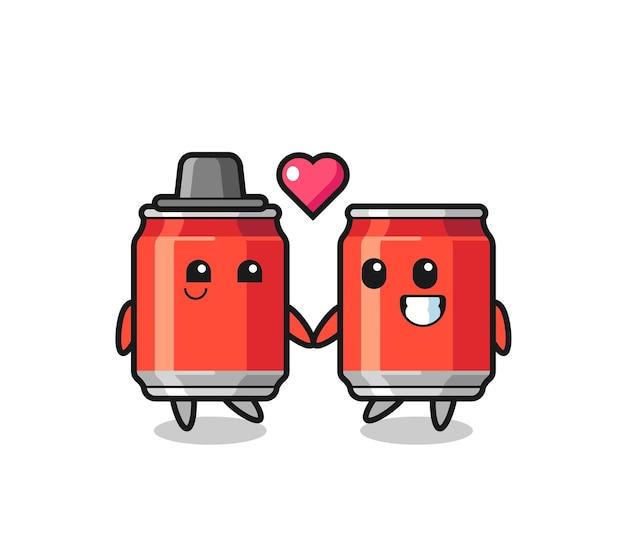 Drankje kan stripfiguur paar met verliefd gebaar, schattig stijlontwerp voor t-shirt, sticker, logo-element