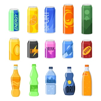 Drankjes in blikjes en plastic flessen illustraties set