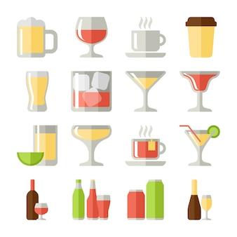 Drankjes plat pictogrammen set