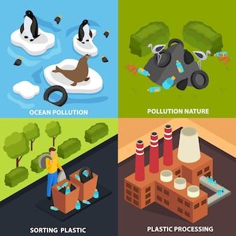 Drastisch plastic concept met composities van beelden die industriële bovengrondse vervuiling en afvalverwerking vertegenwoordigen