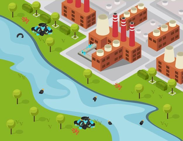 Drastische isometrische kunststofsamenstelling met buitenlandschap en fabrieksgebouwen die afval naar de rivier legen