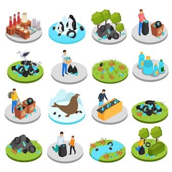 Drastische plastic isometrische icon set van zestien geïsoleerde afbeeldingen met vuilnisbakken planten en menselijke karakters