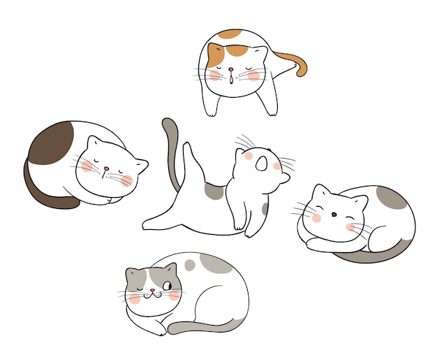 Draw set cute cat different pose