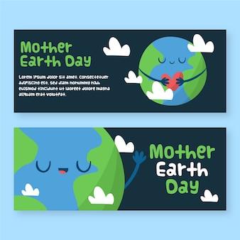Drawign van moeder aarde dag banner
