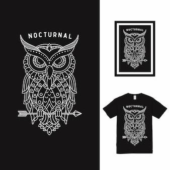 Dream bird owl line art t-shirt design Premium Vector
