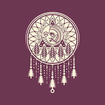 Dream catcher maan gezicht logo ontwerp