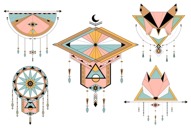 Dreamcatcher gestileerde vectoren op achtergrond