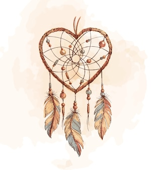 Dreamcatcher heart illustratie