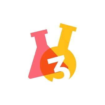 Drie 3 nummer lab laboratorium glaswerk beker logo vector pictogram illustratie