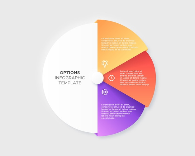 Drie 3 stappen opties cirkel tijdlijn zakelijke infographic moderne ontwerpsjabloon