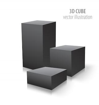 Drie 3d-kubussen geïsoleerd op wit