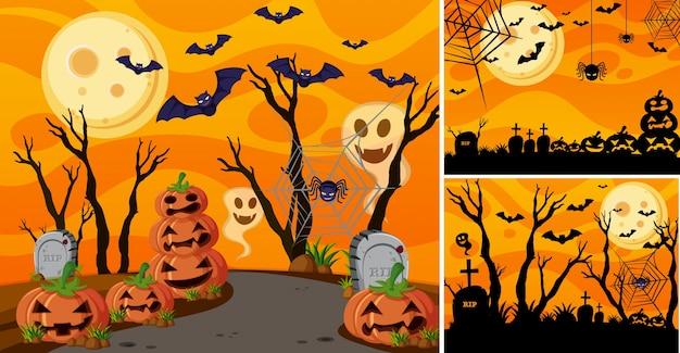Drie achtergrond met halloween nacht en jack-o-lantaarns