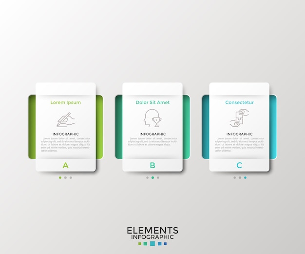Drie afzonderlijke rechthoekige papieren witte elementen of kaarten. concept van 3 zakelijke opties om uit te kiezen. moderne infographic ontwerpsjabloon. vectorillustratie voor webmenu-interface, presentatie.