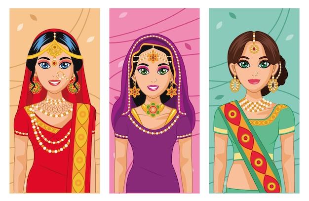 Drie arabische bruiden karakters