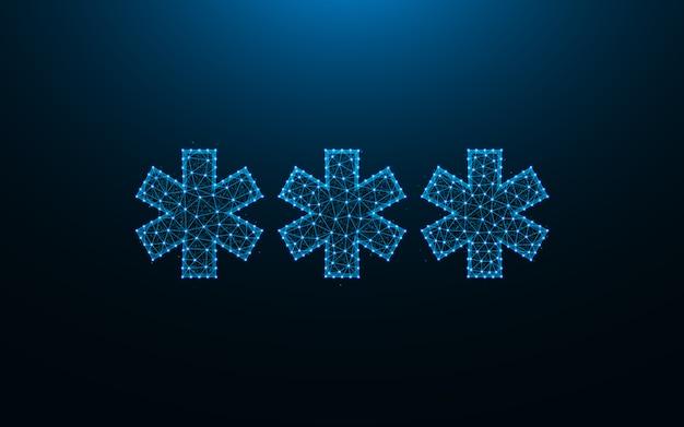 Drie asterisk laag poly ontwerp, abstracte geometrische sjabloon, wachtwoord teken draadframe mesh veelhoekige vectorillustratie