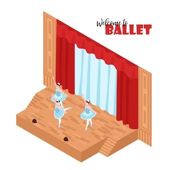 Drie ballerina's die op 3d isometrisch van het theaterstadium presteren