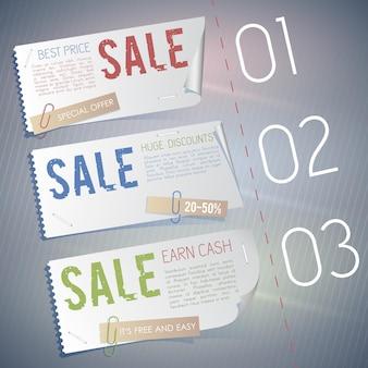 Drie banners instellen samenstelling met informatie over verkoop, verdienen geld