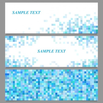 Drie banners met blauwe pixels