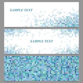 Drie banners met donkerblauwe pixels